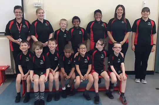 Here is some of the sports team displaying the new sports team kit.  Purchased October 2017 from the PE/Sports Grant