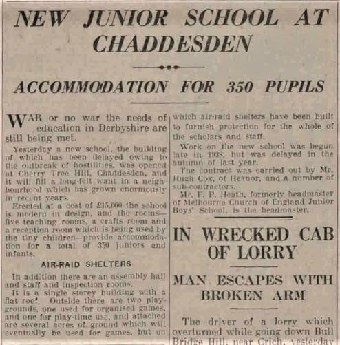 Newspaper from our official opening in 1940