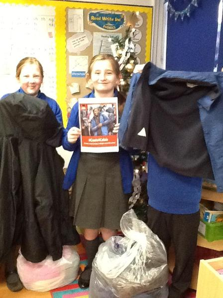 We collected coats for refugee families to help keep them warm this winter.