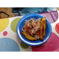 "Jerk chicken with rice and pea's plantain ""yum yum"""