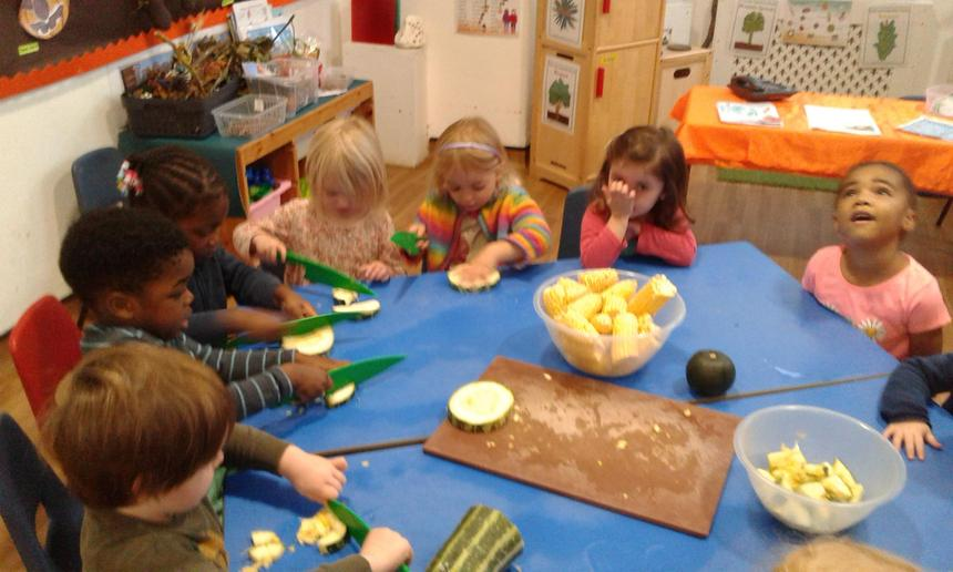 The conentration on their little faces whilst cutting their vegetables, soup time
