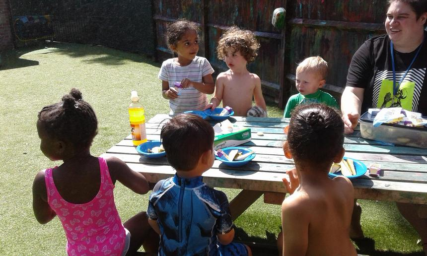 Snack in the sun( fresh fruits and raisons)