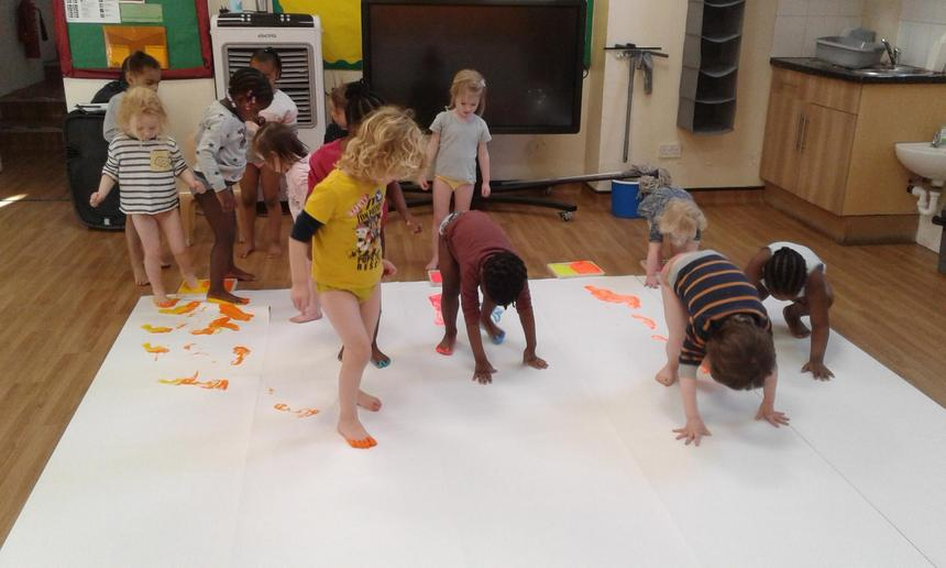 Pre-school had a fantastic time body painting