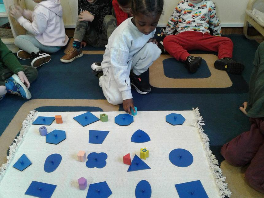 Showing an awareness of similarities of shapes.