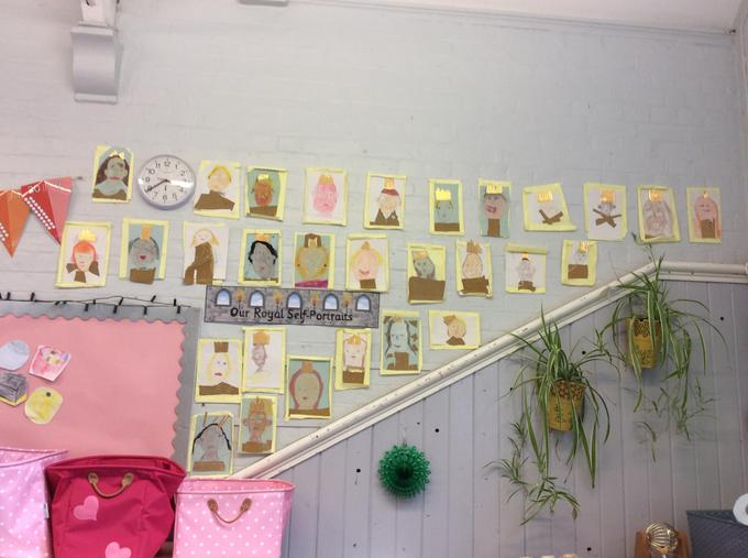 We used crayon, colouring pencils and different fabrics to create our portraits and frames
