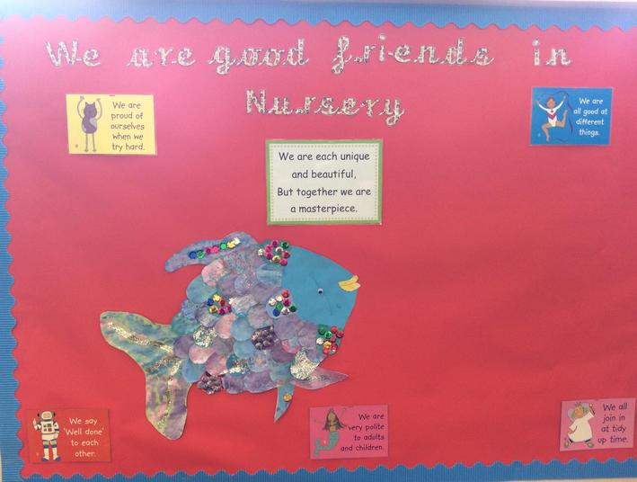 Nursery have made Rainbow fish. We have discussed the importance of friendships.