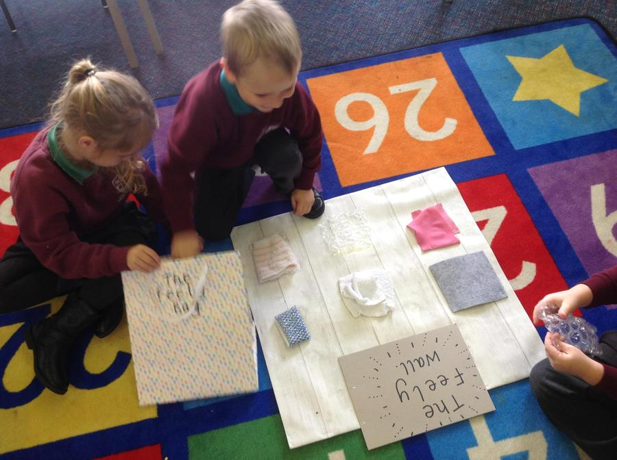 Matching the Feely Bag materials to the Feely Wall without peeking on Science Day!