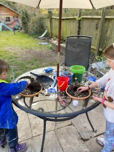 More sibling, Easter garden making fun...