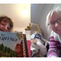 Maci reading the Guffalo to Mrs C and Pixie the cat!