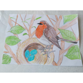 William's super drawing of a robin...