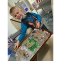 Making bird feeders with Elijah