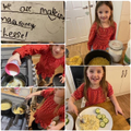 Ivy making macaroni cheese - yum!