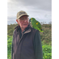 Beau met a man with a South American parrot while out for a walk!