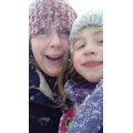 Mrs and Miss Stiles just before a sledging run!