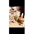 Loui with a REAL hospital dog!