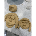 Miss Chappell and Elise caricatures in playdough