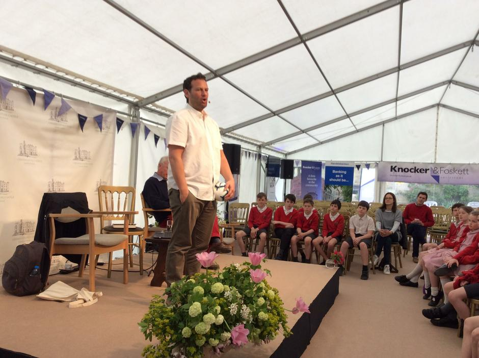 Author, Dan Freedman talking to Year 6 at the Literary Festival