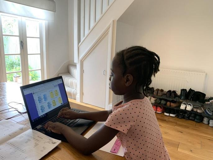 Eden completing Online Home Learning
