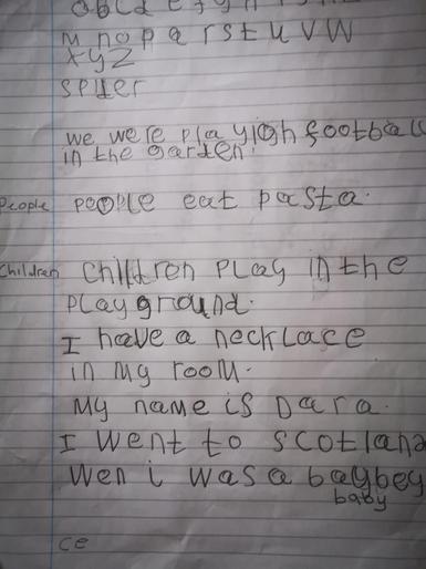 Nilisha's postcard writing