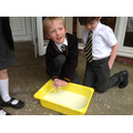 Having fun making a mess with 'Oobleck'