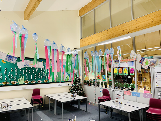 Colourful Jellyfish. Our beautiful Christmas tree, decorated by the children.