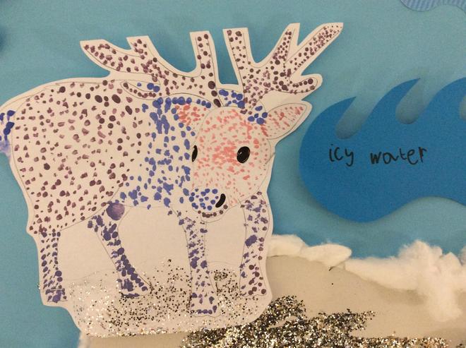 Pointillism: Arctic caribou