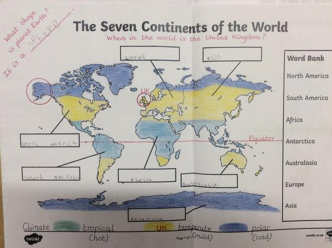 Identifying continents and climates