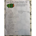 The Very Hungry Caterpillar writing
