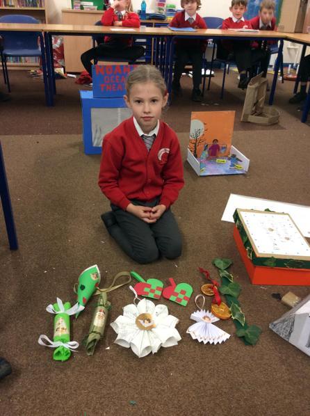 Maja created lots of Victorian Christmas decorations.