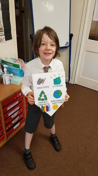 Linus created a shield with pictures and text to represent our school values.