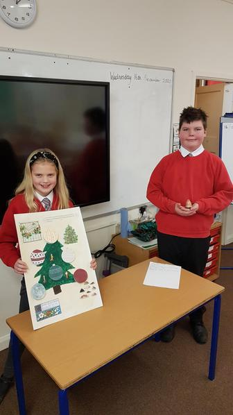 Spencer crafted Big Ben and Sienna created an aged Christmas tree with decorative facts.