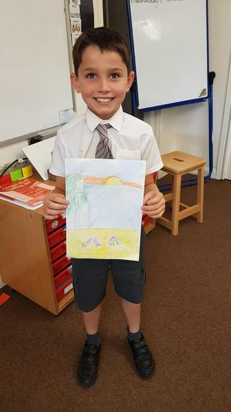 Leo drew a picture of the beach from his Greek holiday.