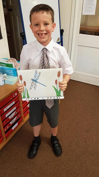 Noah created a fantastic picture of a Dragonfly