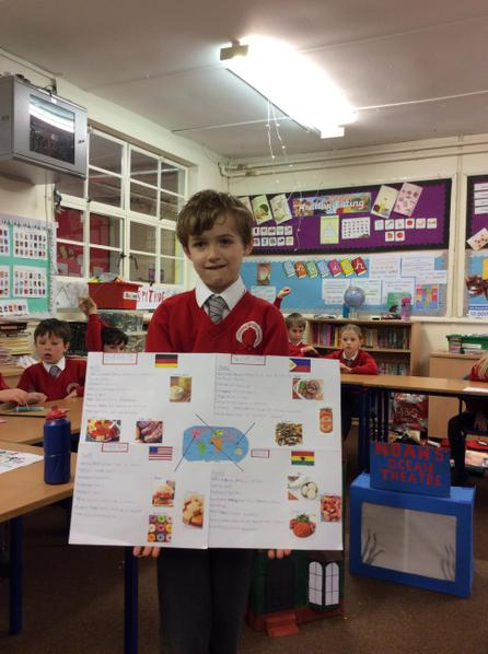 Toby researched 4 other cultures and found out what food they ate.
