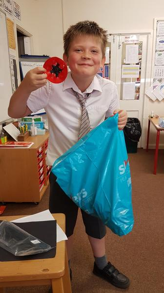 Ollie plans to create poppies from household goods to show respect for Remembrance Day.