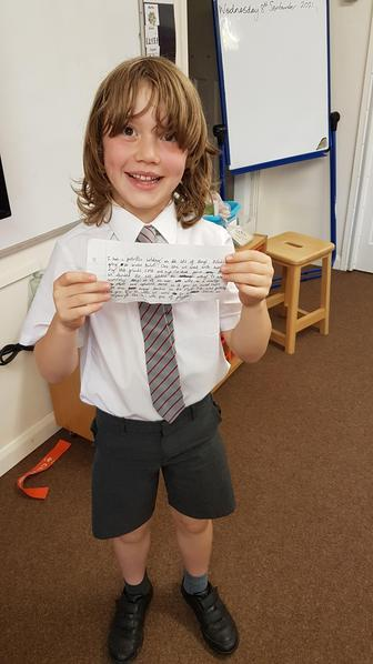 Gil wrote up a descriptive piece of work about his adventures on holiday in Wales.
