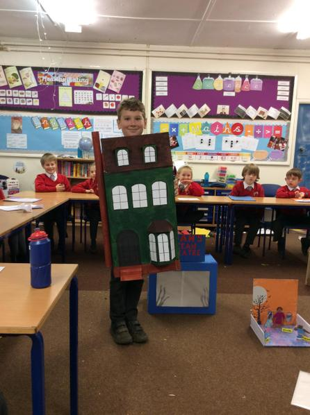 Charlie created a model of a Victorian home.