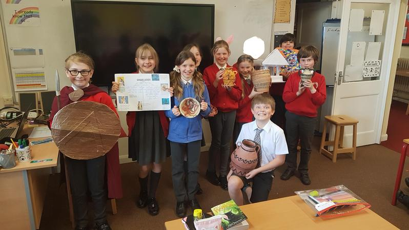 We had Greek pottery, mosaics and puppets, temples, weapons and a fact sheet about Gods.