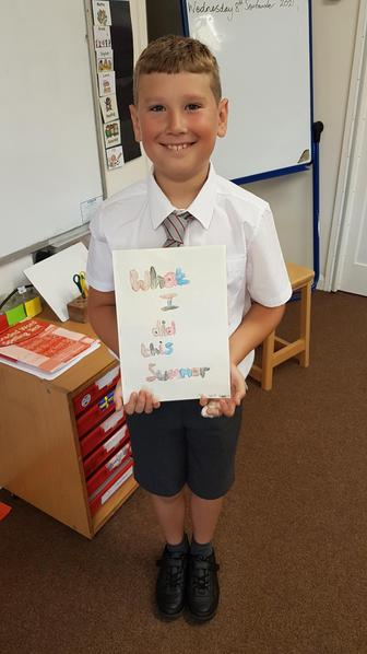 Charlie created a picture book showing all the amazing things he did on holiday.
