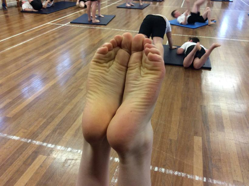 Aaron's perfectly tensed feet! Heel to heel!