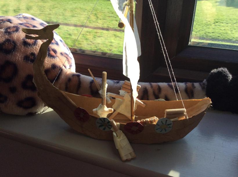 Lilly-Mae's long boat with shields - fab!