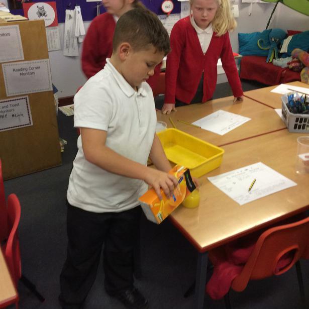 Measuring the liquids!