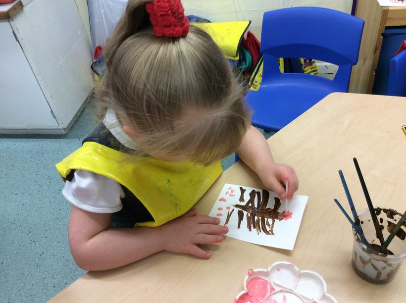 We painted blossom trees.