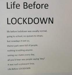 Poetry to describe life before lockdown.