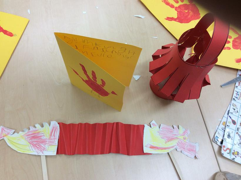 We made lanterns and dragons.