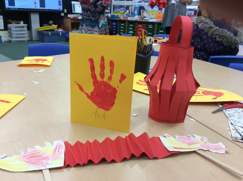 We made lanterns and dragons.