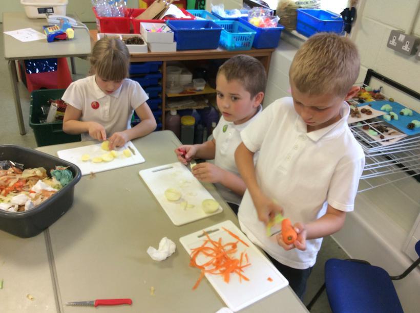 Peeling the carrots!