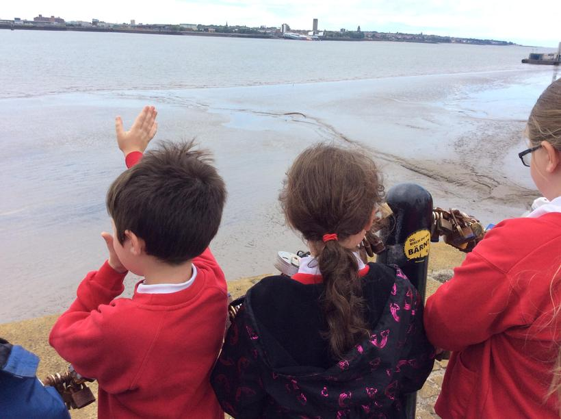 Waving to the ferry