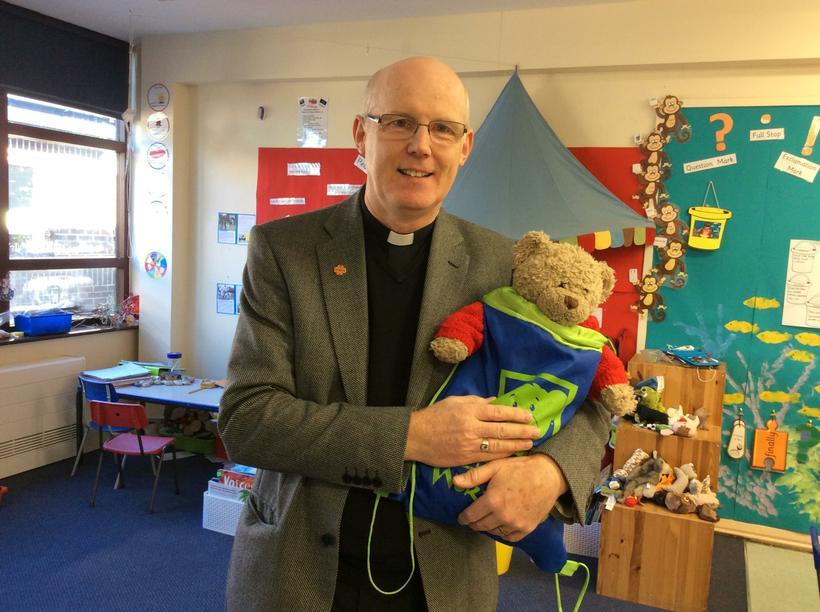 Father Peter met Class 3 and Peter bear!