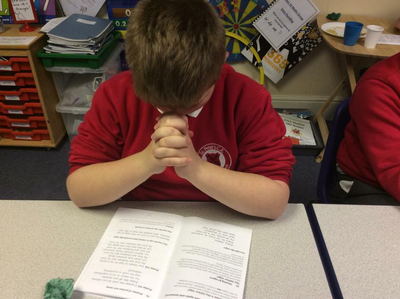 Like in the Eucharist, we pray.
